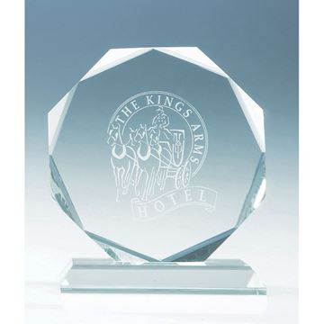 Picture of 11.5cm x 11.5cm x 15mm Jade Glass Facetted Octagon Award