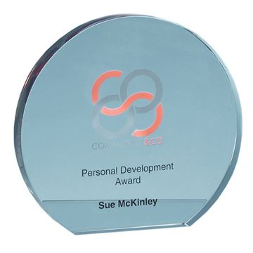Picture of 12.5cm x 19mm Clear Glass Freestanding Circle Award